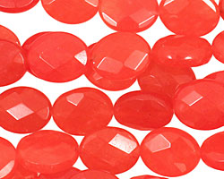 Tangerine Tango Jade Faceted Flat Oval 12x10mm