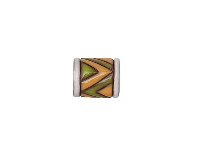 Golem Studio Green & Yellow Zigzag on Terra Cotta Carved Ceramic Tube Bead 13x11mm
