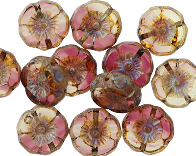 Czech Glass Cranberry Ice Hibiscus Coin 12mm