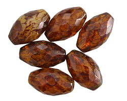 Czech Glass Glowing Amber Picasso Faceted Rice 20x12mm