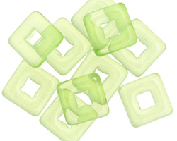 Czech Glass Transparent Spring Green Square Frame 11mm
