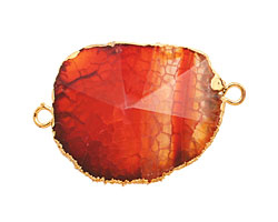 Wine Agate Pendant Link set in Gold (plated) 25-42x25-35mm