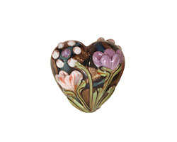 Grace Lampwork Light Pink w/ Purple Floral Heart 19-20mm