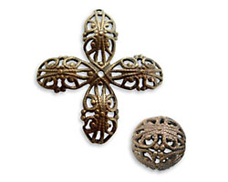 Vintaj Natural Brass Round Filigree Bead 14mm