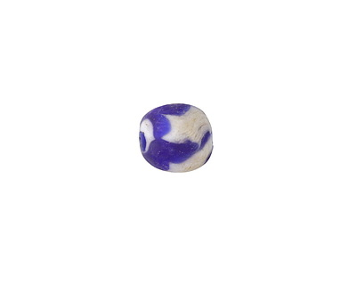 African Recycled Glass Cobalt & White Tumbled Round 8-10mm
