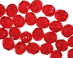 Czech Fire Polished Glass Siam Ruby Round 8mm