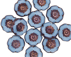 Czech Glass Bronzed Alice Blue Hibiscus Coin 12mm