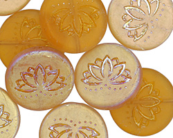 Czech Glass Matte AB Pumpkin Lotus Coin 18mm
