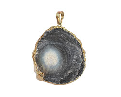 Druzy Agate Freeform Pendant w/ Gold Bail (plated) 30-37x42-52mm