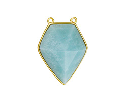 Amazonite Faceted Diamond Cut w/ Gold Finish Bezel Focal 21x30mm