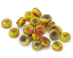 African Glass Kakamba Prosser Beads Multi on Yellow 4-5x8-9mm