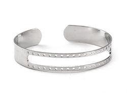 Silver Finish Open Stitchable Cuff Bracelet 60x10mm