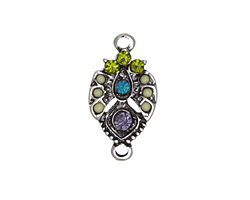 Zola Elements Antique Silver (plated) Grapevine Pointed Drop Focal Link 12x22mm