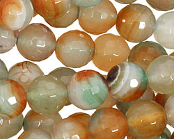 Green/Caramel Agate Faceted Round 10mm