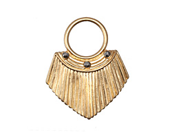 Zola Elements Matte Gold (plated) Pleated Shield w/ Crystal 27x33mm