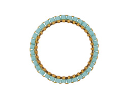 Aqua Miyuki Delicas Woven on Gold (plated) Stainless Steel Ring 23mm