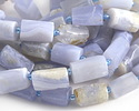 Chalcedony Natural Cut Faceted Tube 12-15x8-11mm