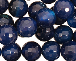 Cobalt Agate Faceted Round 12mm