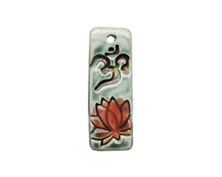 Earthenwood Studio Ceramic Peacock Om Lotus Pendant 15-17x46-47mm