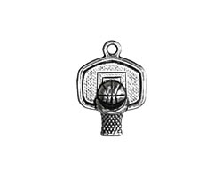 Antique Silver Finish Basketball Hoop Charm 15x20mm