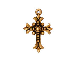 TierraCast Antique Gold (plated) Fleur Cross Charm 18x26mm