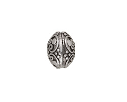 Antique Silver (plated) Scrolling Heart Rondelle 9x13mm