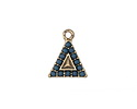 Zola Elements Antique Gold (plated) Beaded Ocean Blue Triangle Charm 13x17mm