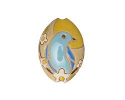 Golem Studio Sunrise Bluebird Carved Ceramic Almond 24.5x19.5mm