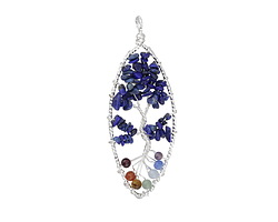 Chakra (Multi Stone) Silver Finish Wire-Wrapped Tree of Life Pendant 30x80mm