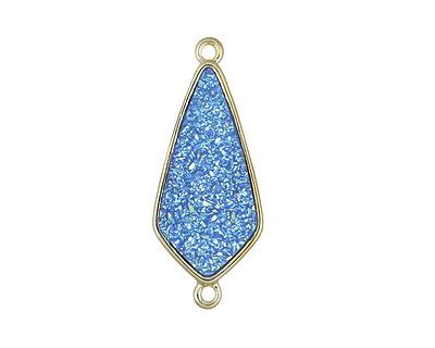 Metallic Aqua Crystal Druzy Teardrop Link in Gold Finish Bezel 33x14mm