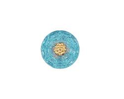 Czech Glass Aquamarine w/ Gold Carnation Button 14mm