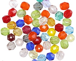 Czech Fire Polished Glass Multi Color Mix Round 5mm