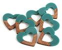 Walnut Wood & Teal Resin Open Heart Focal 50mm