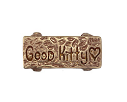 "Patricia Healey Bronze ""Good Kitty"" 10mm Flat Slide 29x14mm"