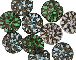Czech Glass Amazon Mix Dahlia Coin 14mm