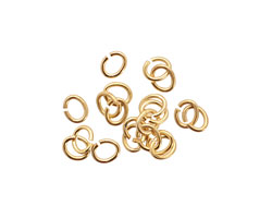 Satin Hamilton Gold (plated) Oval Jump Ring 5x4mm, 20 gauge