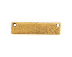 Nunn Design Antique Gold (plated) Flat Small Horizontal Rectangle Tag 32x8mm