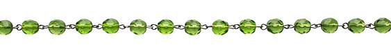 Czech Fire Polished Olivine Faceted Round Silver (plated) Bead Chain