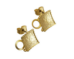 Satin Hamilton Gold (plated) Concave Textured Square Ear Post w/ Loop & Back 11mm