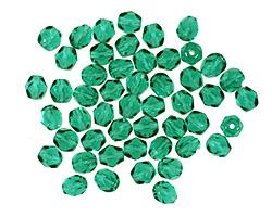 Czech Fire Polished Glass Emerald Round 4mm
