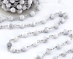 White Howlite (matte) Round 6mm Silver Finish Bead Chain