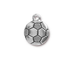 TierraCast Antique Silver (plated) Soccer Ball Charm 15.5x19mm