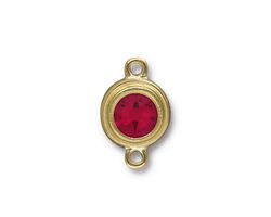 TierraCast Gold (plated) Stepped Bezel Link w/ Siam Ruby Crystal 12x17mm