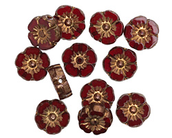 Czech Glass Bronzed Garnet Hibiscus Coin 9mm