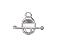 Saki Sterling Silver Oval Toggle Clasp 12x18mm, Bar 24mm