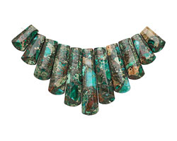 Emerald Impression Jasper & Pyrite Ladder Pendant Set 15-38mm