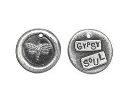 "The Lipstick Ranch Pewter ""Gypsy Soul"" Dragonfly Wax Seal Charm 19mm"