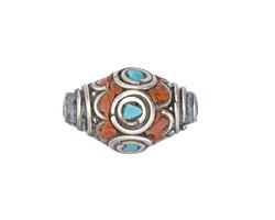 Tibetan White Brass w/ Orange Coral & Turquoise Mosaic Petal Rice Bead 22x14mm
