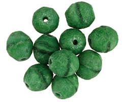 Czech Glass Etched Matte Leaf Green Faceted Round 10mm