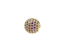 Gold (plated) & Tanzanite CZ Micro Pave Round 10mm